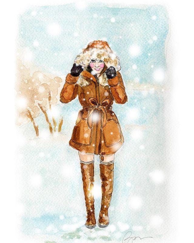 Walking in a Winter Wonderland 💙❄️☃️❄️💙 #winterwonderland #holidayillustration  #fashionillustration