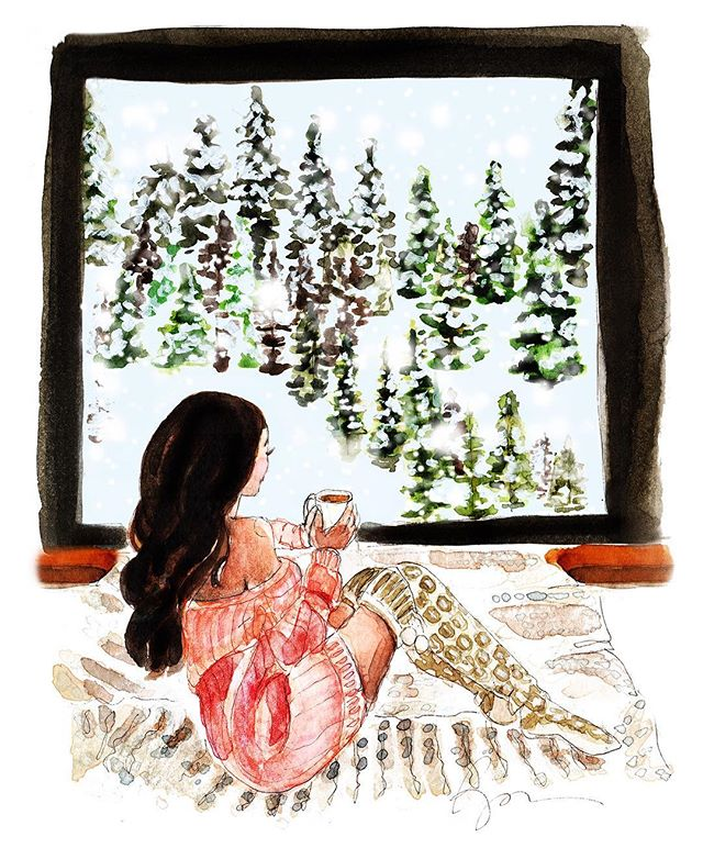A cozy winter's night at the cabin. 🌲🕯❄️☕️💙🌲 . . . . .  #watercolorpainting  #holidayparty  #holidaycheer #winterwonderland  #babyitscoldoutside  #watercolor