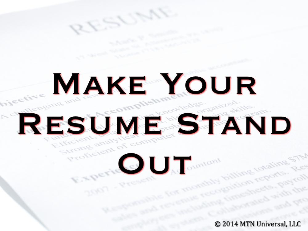 Make Your Résumé Stand Out.001. When ...