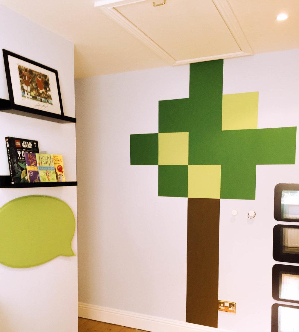Handpainted Minecraft tree.
