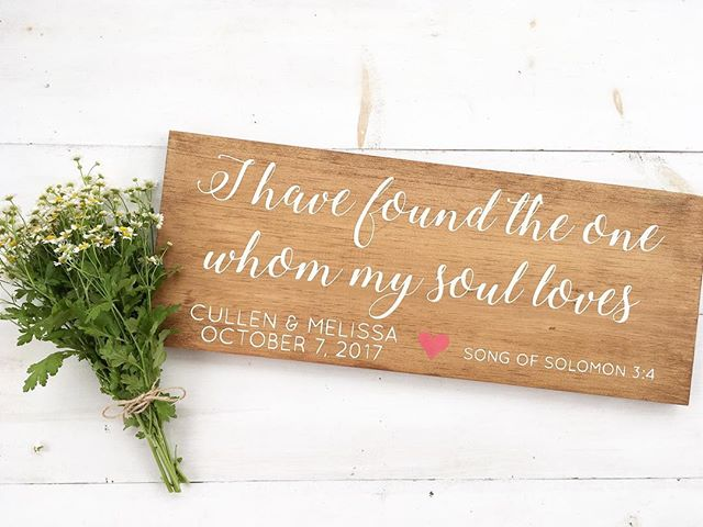 """The Song of Solomon is also called the Song of Songs which implies that it is the greatest of all songs. If you've never read through this book of the Bible, I encourage you to! Just know it's definitely not """"G"""" rated. 🙊 Which is one of the reasons this sign makes the perfect wedding gift. 💏 . . Side note, my hubby knows the way to my heart is through $3 flowers from @traderjoes . When he walked in with this cute bunch of chamomile yesterday, I coulda dropped my paintbrush and married him all over again--right on the spot. 😍"""