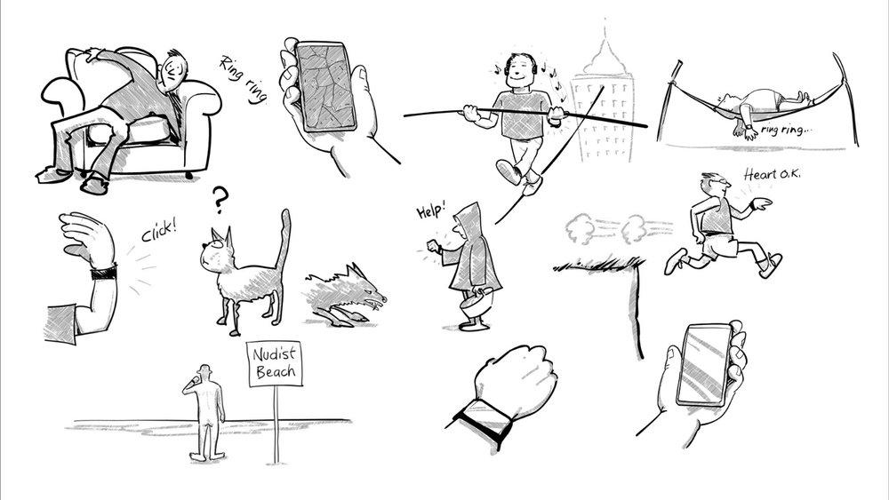10 advantages of wristphones. Illustration by  Bob Banks