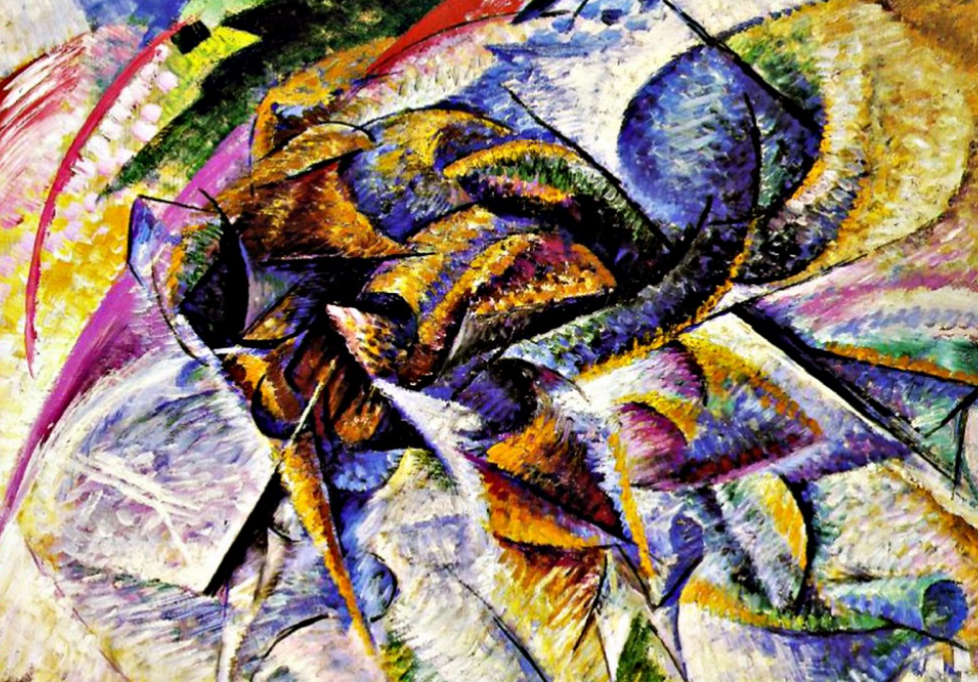 Dynamism of a Cyclist. Oil painting by Umberto Boccioni. 1913.