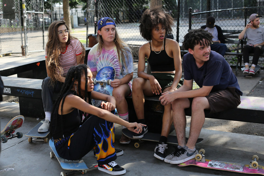 The real life Skate Kitchen: The crew who make up Crystal Moselle's first narrative film. CREDIT: Sundance London