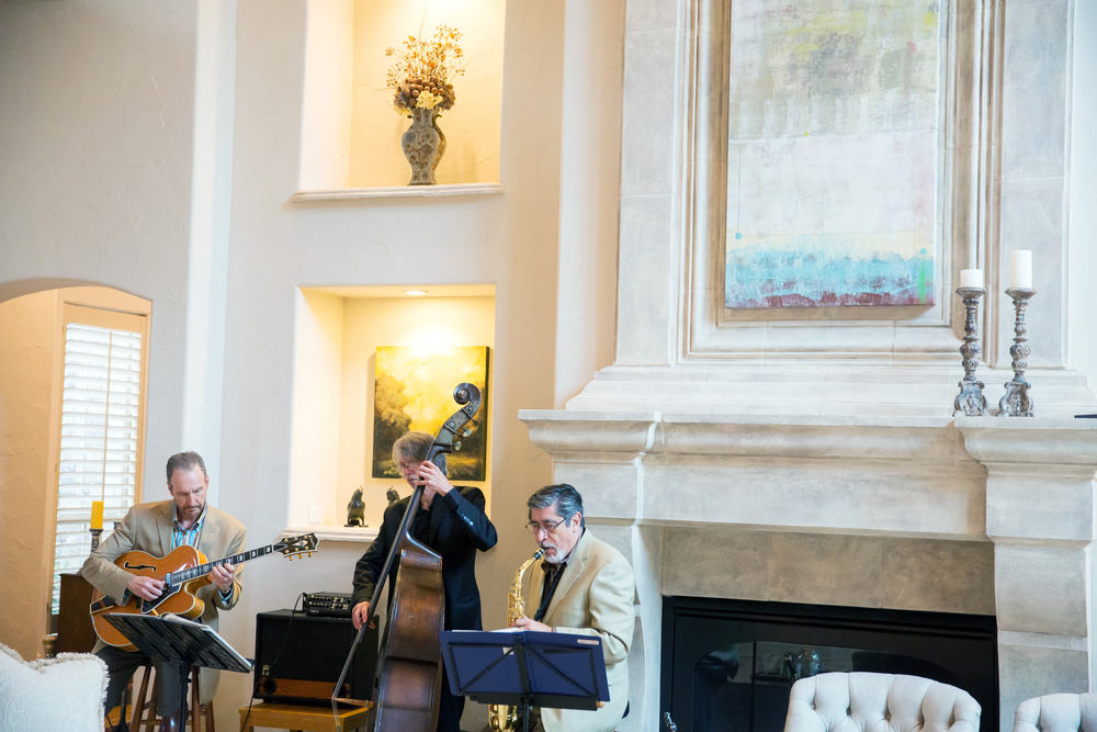 The Jazz Trio. See the guitar player? That's Nick DiGennaro. He's the best. AND he played at our Rehearsal Dinner! I booked him without even realizing the connection!