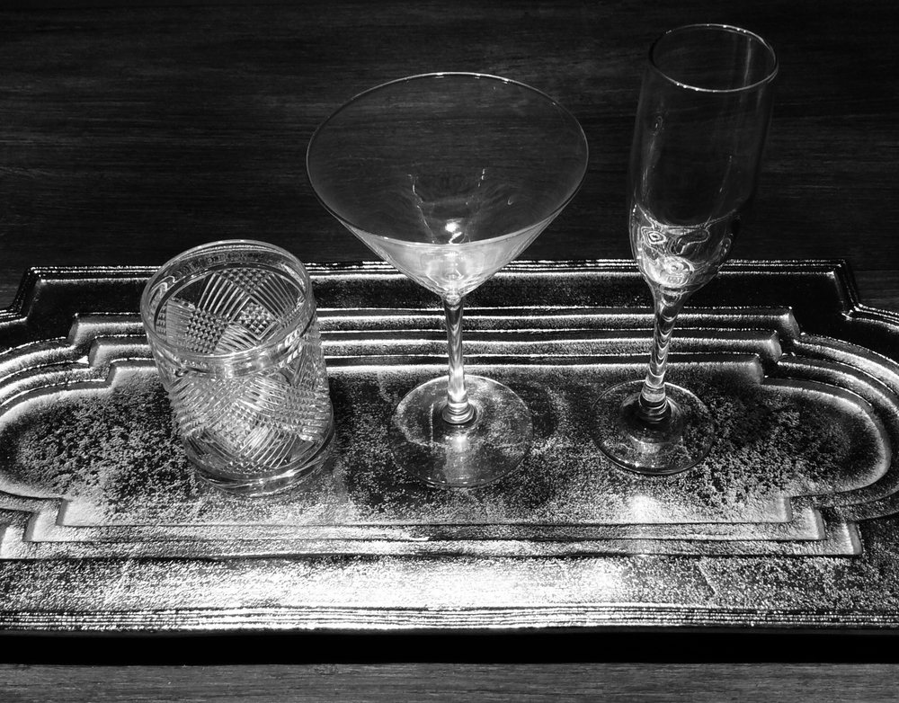 Glassware on tray set for party