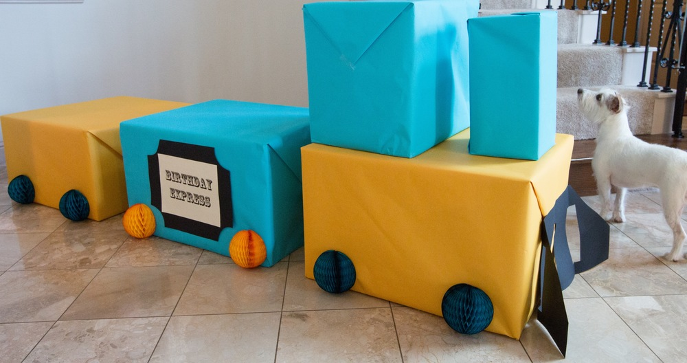DIY Box Train for Train Theme Birthday Party