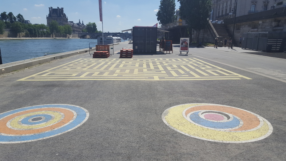 Street Chalk Art, The River Seine, Paris, France
