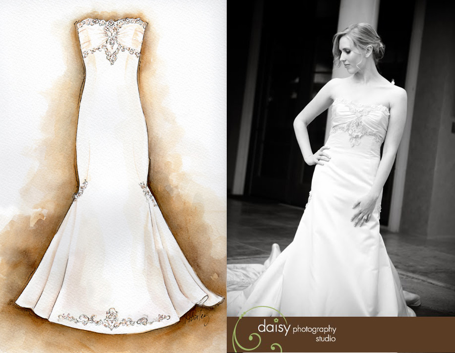 Watercolor painting of wedding dress by Kristina Bailey