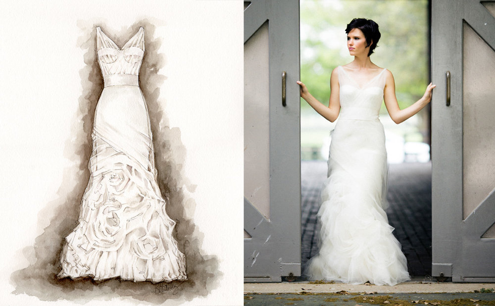 Watercolor painting of wedding dress by Kristina Bailey. Sara & Rocky Photography