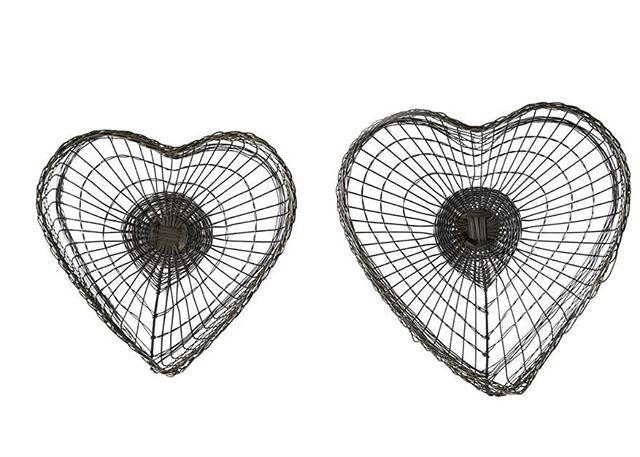 CHRISTMAS MAGIC EXCLUSIVE: Set of 2 Hand-woven Wire Heart Baskets. Feel the love all year long!