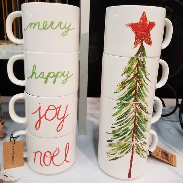 Just in case that extra hour of sleep didn't perk you up enough....these stackable Christmas mugs sure will! Christmas tree on one side and tidings of good cheer on the other.  @jlwfchristmasmagic #christmasmagic2018 #lifewithstyle #mybooth