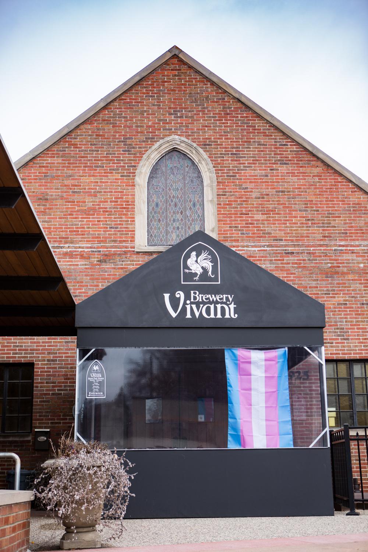 Trans Flag flown @ Brewery Vivant