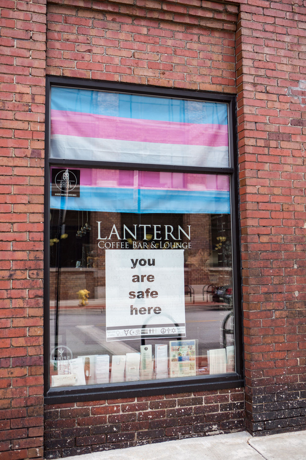 Trans Flag flown @ Lantern Coffee