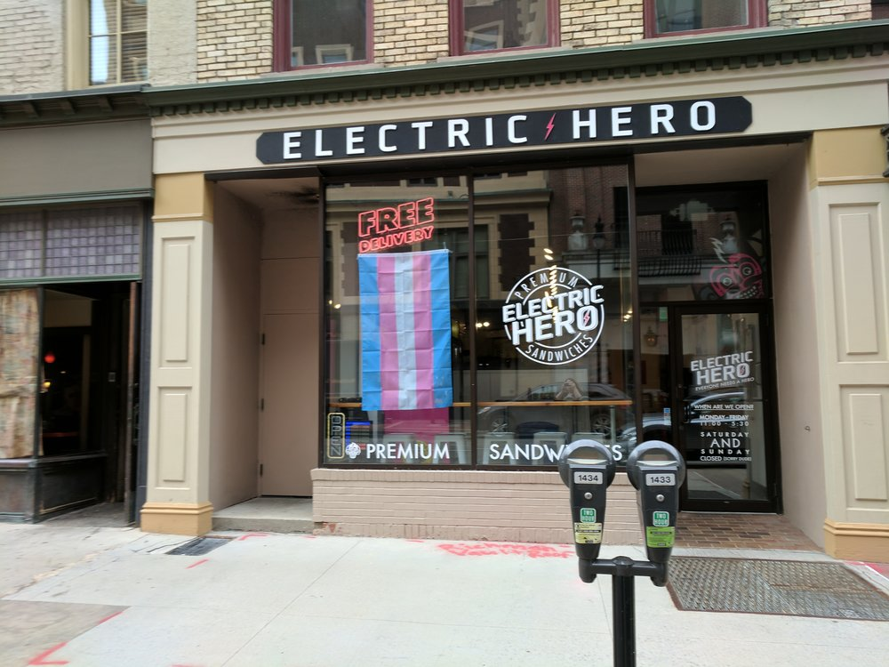 Trans Flag flown @ Electric Hero