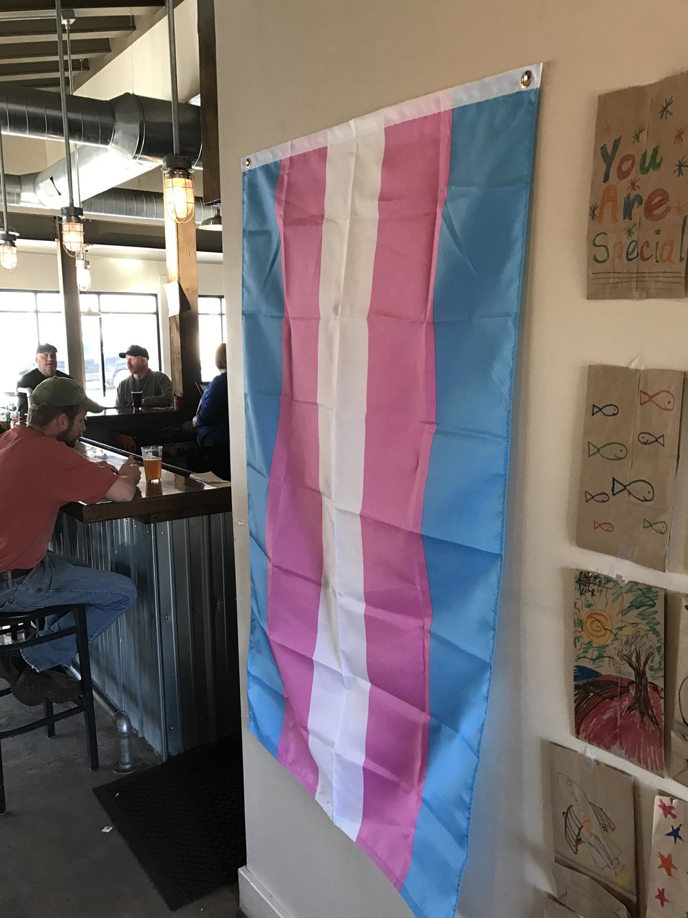 Trans Flag flown @ Elk Brewing