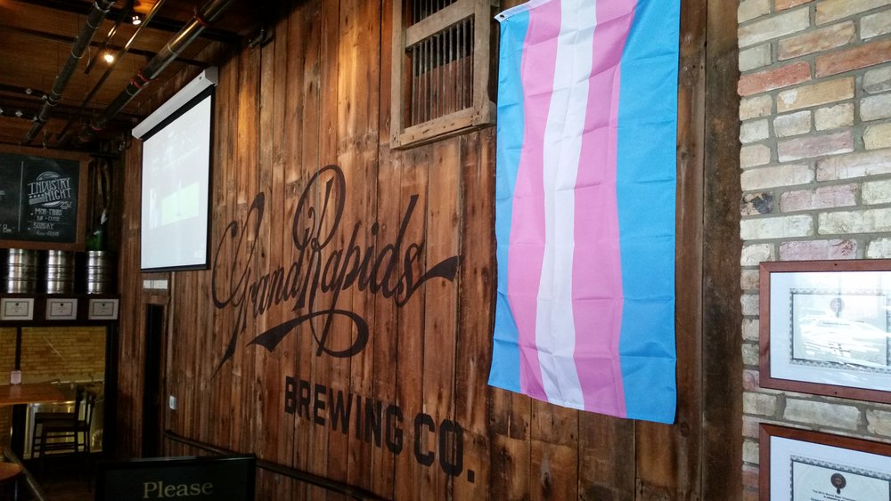 Trans flag flown @ Grand Rapids Brewing Company