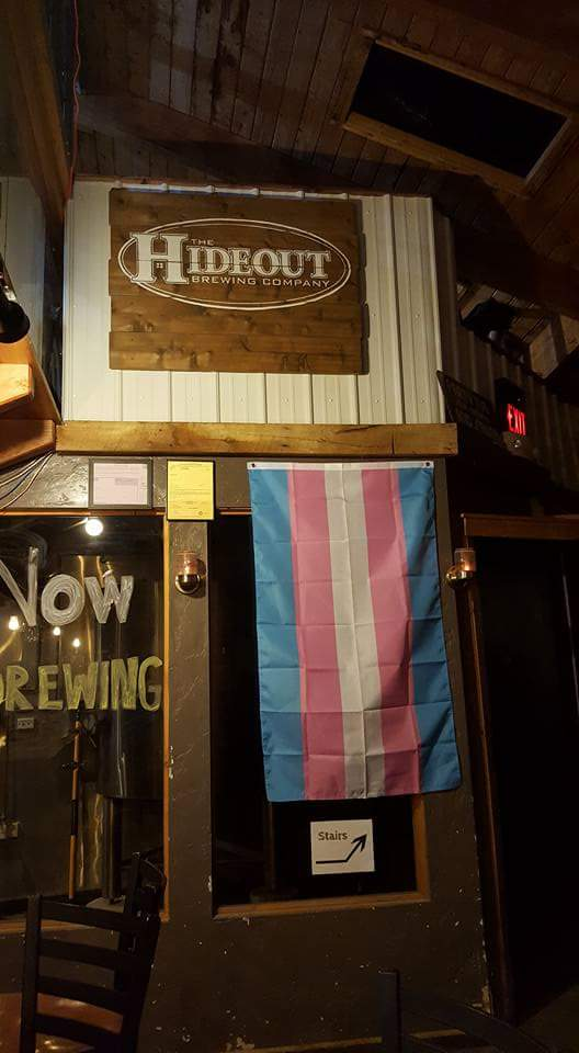 Trans Flag flown @ The Hideout Brewing