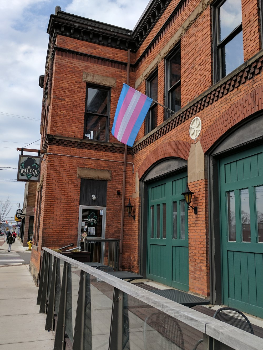 Trans flag flown @ Mitten Brewing Company