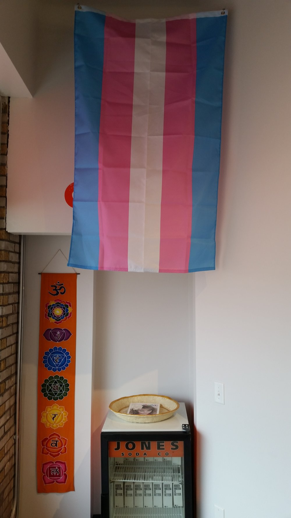 Trans Flag flown @ Yoga Fever