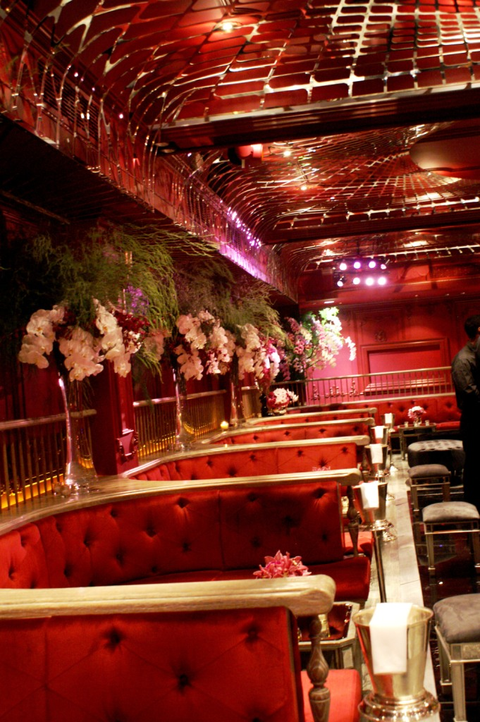 006 left side-the darby, red+black+pink event lounge, pink+white orchids, red velvet booths, black plexi dance floor, mirrored lounge furniture.JPG