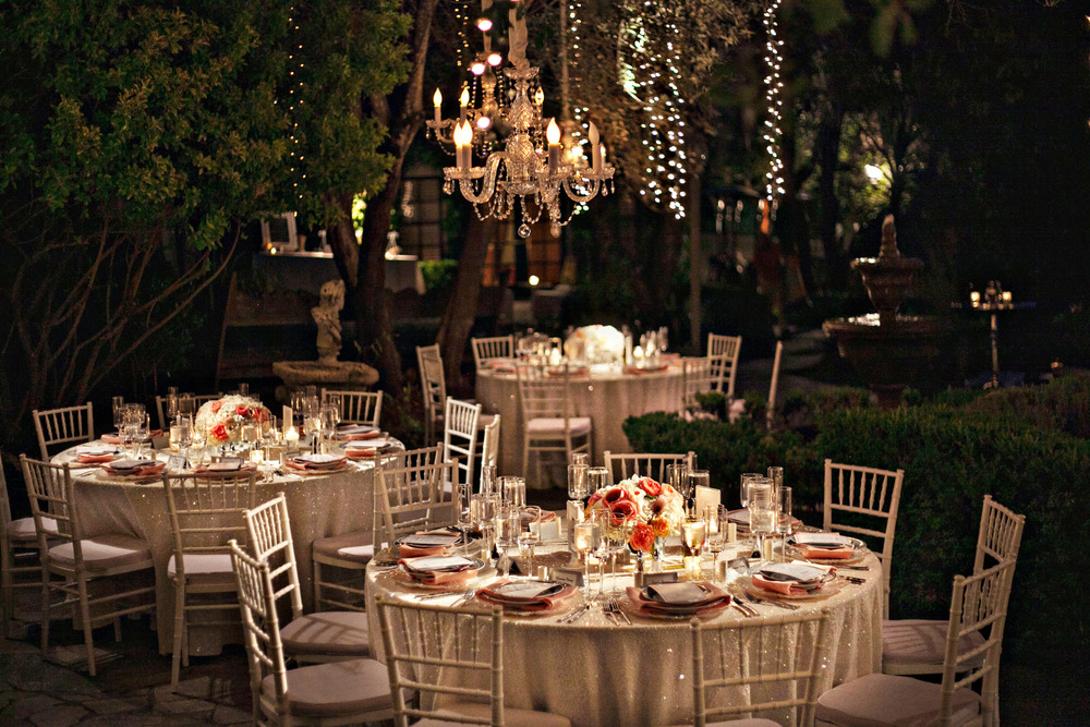 25. Summer wedding, wedding chandaliers, hanging fairly lights, sequin tablecloths, sparkle wedding, peach & coral wedding.jpg