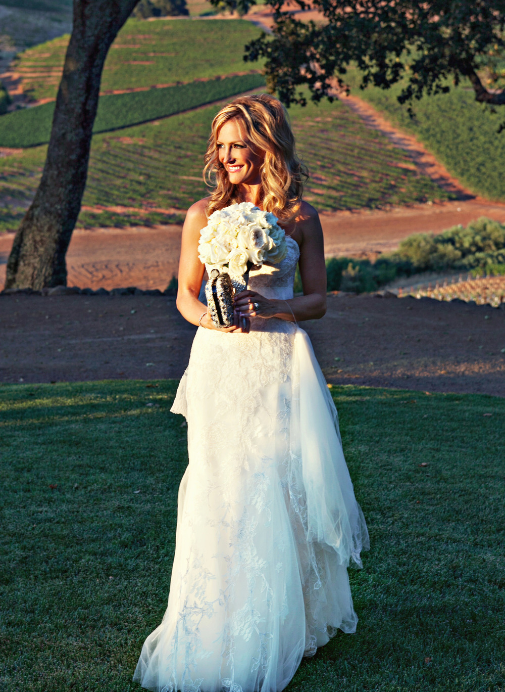 33. RS - , summer wedding, napa wedding, vineyard ceremony, gorgeous wedding dress, white bridal bouquet.jpg