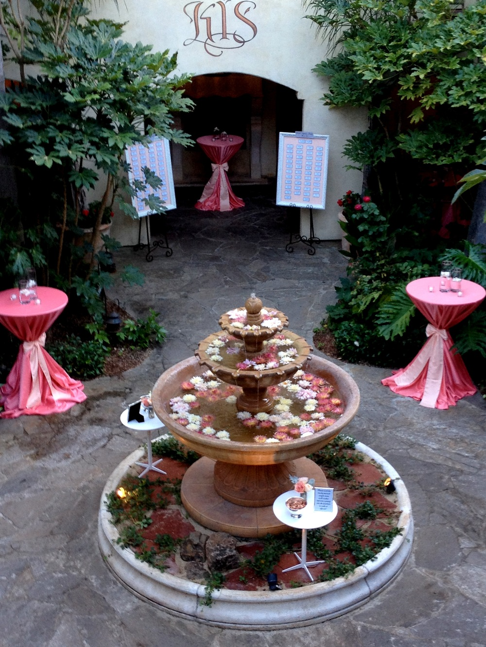 46. LS - RS - Wedding wishing well, summer wedding, floating flowers, peach & coral wedding, pretty cocktail linens, cocktail hour ideas.jpg