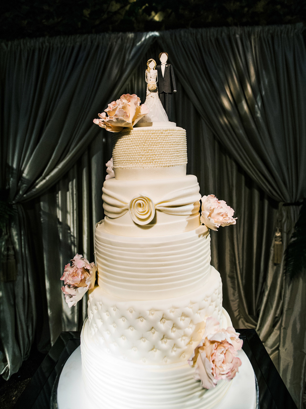 56. LS - modern+romantic wedding cake,  white+ruffle + tufted+pearl+ rouching wedding cake, custom cake topper, cake topper ideas,.jpg