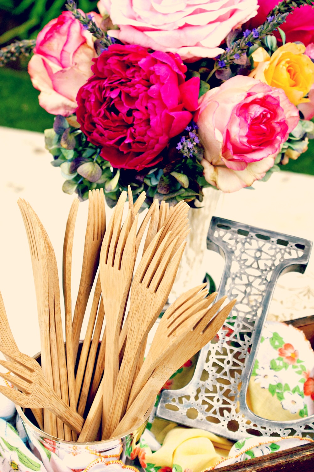 burlap and lace - Bamboo forks and peonies.jpg