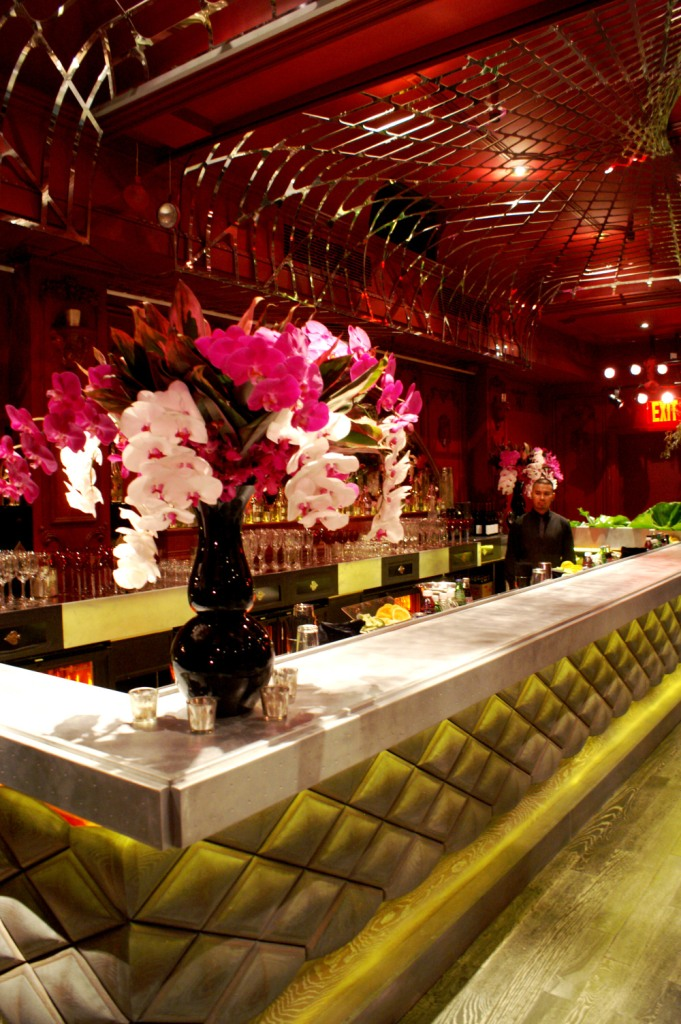 the Darby, pink+white orchid arrangements, modern bar, club event setting, pink+red event lounge,.JPG