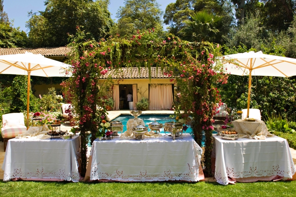 6.Shabby Chic Garden Party, garden Buffet, vintage lace & godl linens, lush arbor over buffet 1.jpg