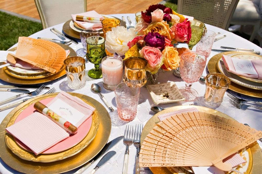 5.Shabby Chic Garden Party, AntiqueTable Setting, antique china, pink & white stripe napkins, fan placecards.jpg