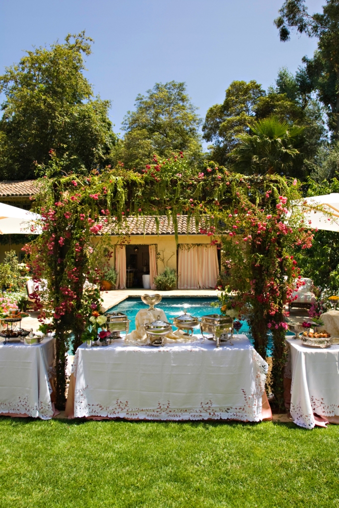 7. left side- Shabby Chic Garden Party, garden Buffet, vintage lace & godl linens, lush arbor over buffet.jpg