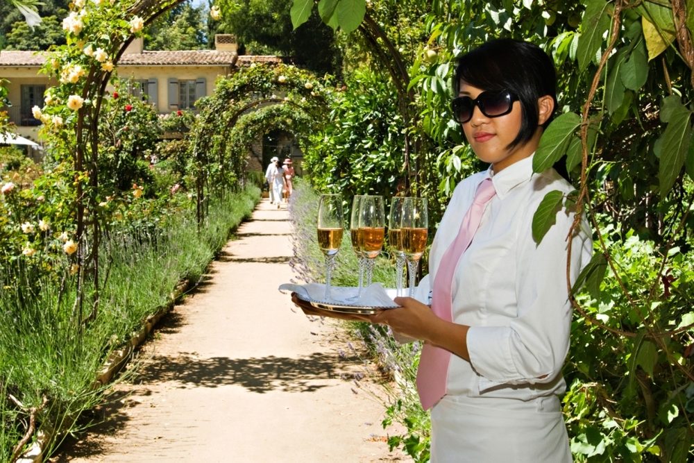 10.shabby chic Garden Party, rose champagne, pink ties, lush green entrance.jpg