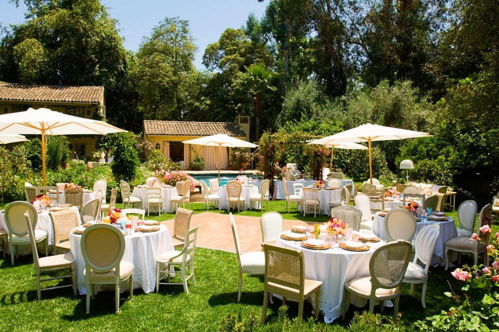 15.shabby chic Garden Party, backyard Event Layout, vintage dining chairs, umbrellas, oak dancefloor, antique southern table settings.jpg