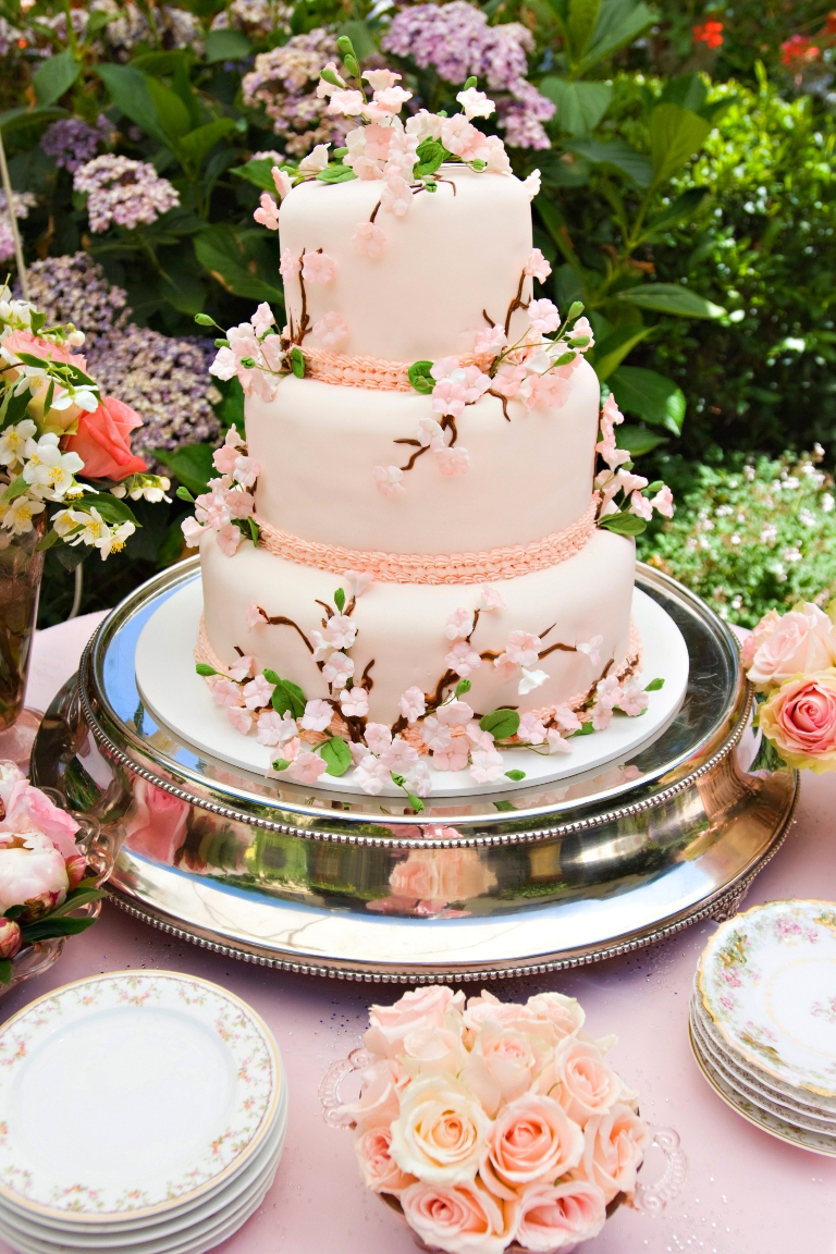 17.shabby chic Garden Party, pink tiered wedding cake, antique silver cake stand, cherry blossom wedding cake,.jpg