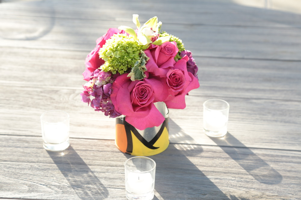 Munchkinspray paint floral centerpiece.jpg