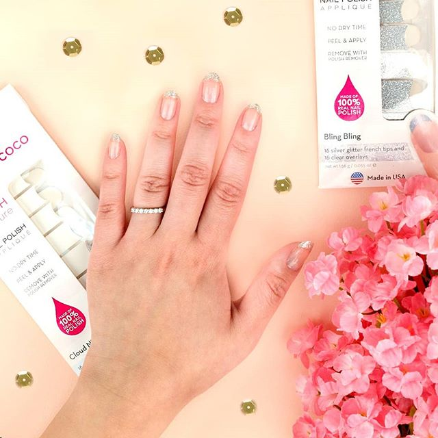 "Score ""Bling Bling Tips"" from @incocoproducts at your local @walmart or walmart.com for sparkling silver for your fingertips! #incoco #coconutnailart #frenchtips #frenchmanicure #glitterfrench"