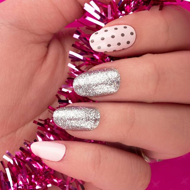 """Like a Charm"" mixes sweet polka dots with irresistible sparkle - so cute! #coconutnailart #incoco #walmartstyle #nailart #budgetbeauty"
