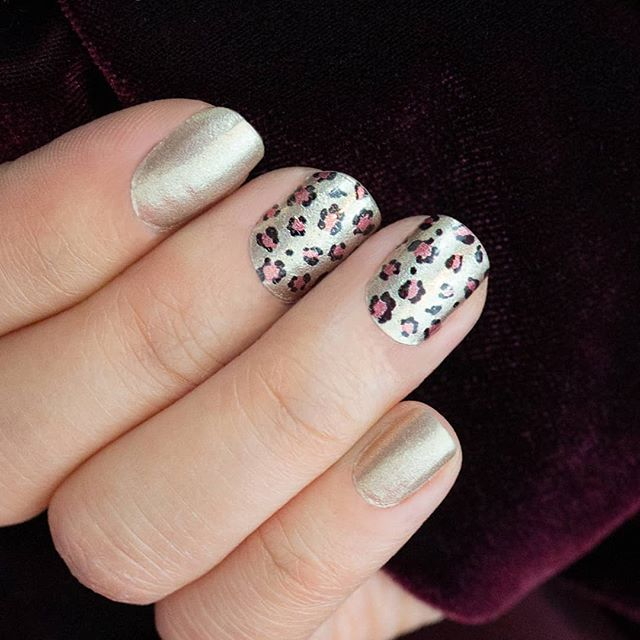 "Turn heads with the shimmering gold leopard print of ""Steal the Show!"" #coconutnailart #incoco #leopardnails #walmartstyle #budgetbeauty"