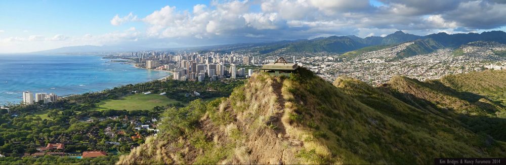 waikiki and downtown honolulu from the top of diamond head