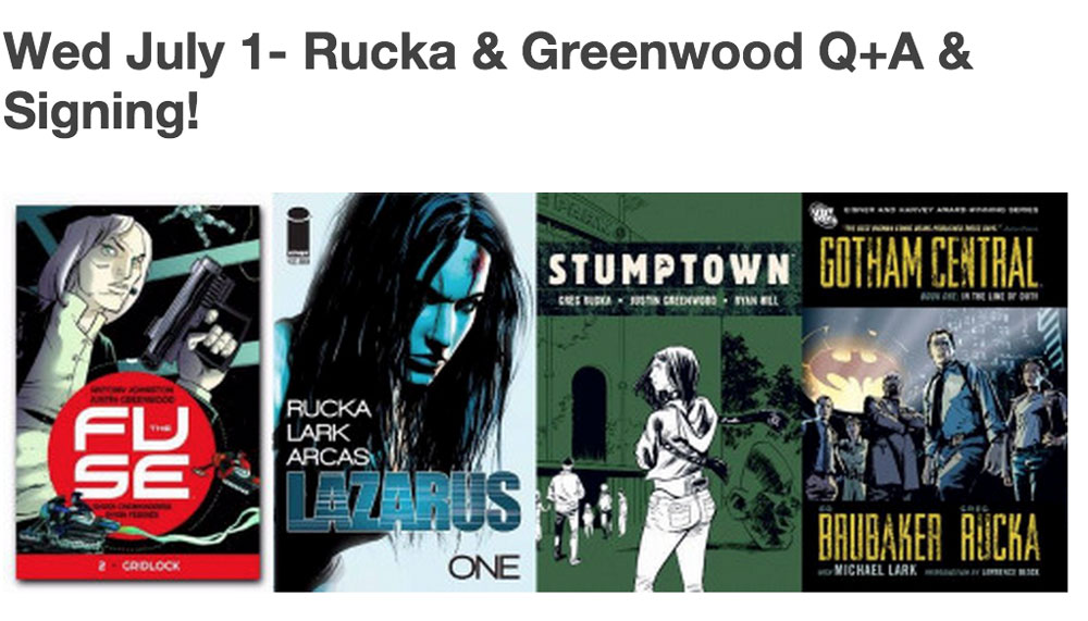 ruckawriter :     This Wednesday evening,  justingreenwood  and I will be at   Mission Comics   in San Francisco, signing funny books and answering questions and generally enjoying their hospitality. You can RSVP on Facebook  here , if RSVPing on Facebook is a thing you do.  You should come and see us and ask us questions and then buy things from the store. Because they're being very nice to host us. And because, you know,  comics .     So excited for this!