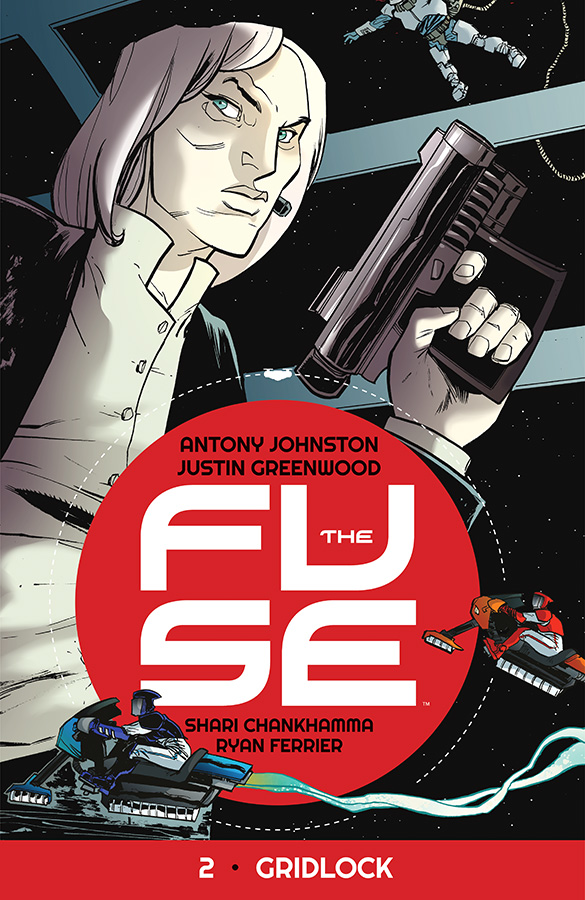 antonyjohnston: THE FUSE Vol 2: Gridlock goes on sale this week. ZERO-G MURDER IN THE COLD OF SPACE! They call it 'Gridlocking' — maglev-bike races across the Fuse's vast solar arrays. Fast, dangerous, and very illegal. So when the #1 gridlock racer turns up dead, Klem and Ralph begin their own race to catch a killer… in a case that will force them into the dark underbellies of drug smuggling and terrorism in zero-g! 'Gridlock' is a step-change from Vol 1, 'The Russia Shift', with more action, not to mention quite a bit more sci in the fi. After easing readers into the familiar-but-odd world of THE FUSE, we're now diving deep into orbital space culture — as well as solving a murder or two, of course! THE FUSE Vol 2: Gridlock is 160 pages of sci-fi crime, and available from all good comic and book stores. In comic stores, the order code is APR150584; in bookstores, the ISBN is 978-1-63215-313-5. Digital readers can get it from Comixology or Image Comics.