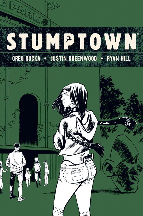 "ruckawriter: Today's the FOC (final order cut-off) for orders on STUMPTOWN Volume 3, collecting Justin's first arc, and the first arc in our new and mostly ongoing iteration of the cases of Dexedrine Callisto Parios, erstwhile Portland private eye. This collects ""The Case of the King of Clubs,"" and I'm very happy with how this arc came out. Sets the stage nicely for our next two arcs. Our next story, ""The Case of the Cup o' Joe,"" begins in… uhm… June? July? Not sure. What I am sure about is the FOC for this, though. You can ask your retailer to pre-order the book for you. Diamond code: JAN151531 Thanks!"