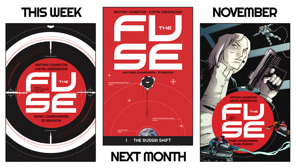 antonyjohnston :     THE FUSE: Issue #6 on sale, London signing, and more   Issue #6 of  THE FUSE  goes on sale this week, bringing our first story arc,  'The Russia Shift' , to its conclusion:     THEIR FIRST CASE — SOLVED! Klem's got it all figured out. But will she live to tell anyone? Can Ralph get to her in time? Who's gonna get shot? And can someone, anyone, please explain why it's called the 'Russia shift'? Well, if you insist…     This is where all the clues get put together, the truth is finally revealed, and Klem and Ralph get to close their first case.   You can  read a preview of the issue on Tumblr  (there's a preview on the usual sites, too, but the tumblr one is longer). The order code for this issue is  MAY140705 .    Then, in a month's time,  THE FUSE Vol 1: The Russia Shift  will go on sale. As you've doubtless figured out, this collects the first story arc in one handy-dandy volume, for the princely sum of just $9.99. (The way the exchange rate is going at the moment, I think that comes to about 50p.)   The comic store order code for Vol 1 is  JUN140504 , and the ISBN for bookstores is  978-1632150080 .     • I'll also be  appearing at Forbidden Planet London on Saturday Aug 30  to sign copies of THE FUSE VOl 1 — and we'll have some exclusive giveaways for readers (including  UMBRAL  readers, too). I'll post more about that closer to the time.     Finally, in November THE FUSE will return with issue #7, and a brand new case;  Gridlock !   'Gridlocking' is an illegal sport where racers speed across the Fuse's vast solar arrays on magnetic bikes; and when the sport's top racer turns up dead, Klem and Ralph find themselves drawn into a surprisingly murky world of speed, egos, and drugs…   Issue #7 is on sale November 5, and in addition to the fantastic regular cover from Justin that you see here, we'll also have a special variant from the brush of  the amazing Jenny Frison, of REVIVAL fame ! We're very excited about that, and we hope you will be, too. More soon.     SPEED. EGOS. DRUGS. Are you excited?!? I'm excited.