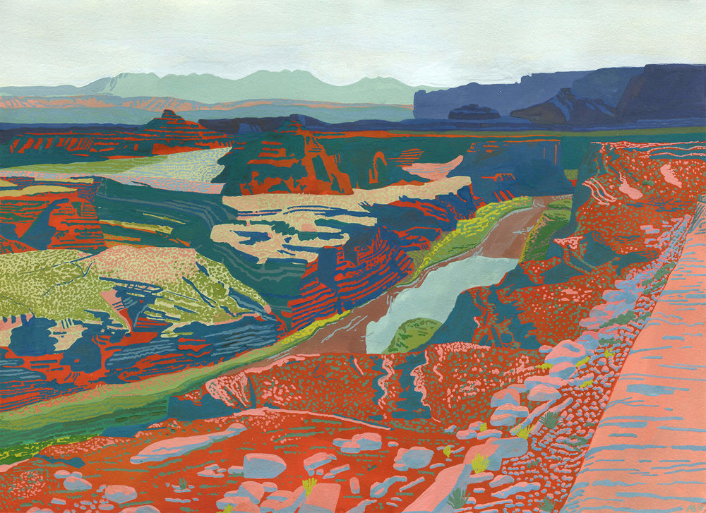 "Canyonlands   Gouache on Lenox paper, 2018  11""x14"""