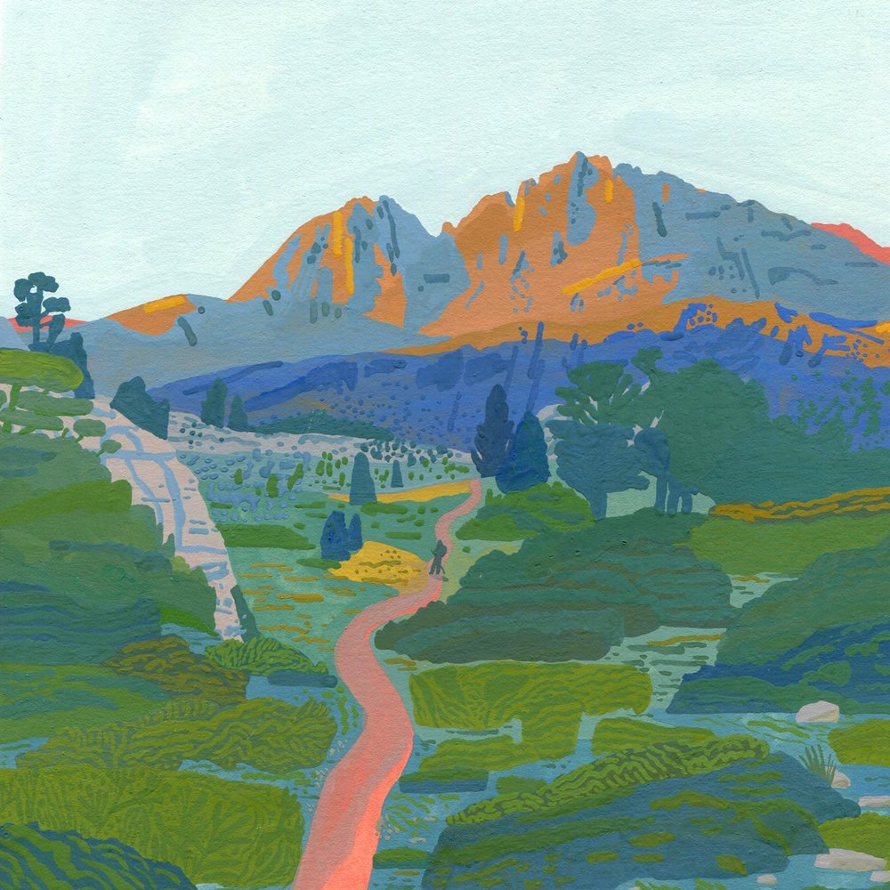 "Forester Pass   Gouache on Lenox paper, 2018  7.5""x7.5"""
