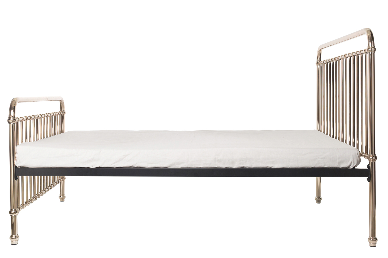Queen bed side view - Eden Bed Rose Gold