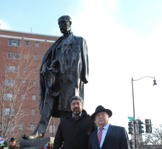 Also at the Masaryk memorial, Freedom House's John Suarez.